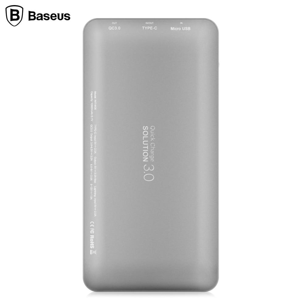 imágenes para Baseus qc 3.0 10000 mah 8 pines de tipo c/micro para tipo-c portable universal rápido carga de la batería externa con certificación msds