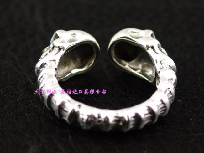 Plata de ley 925 abierto del doble del cráneo hombres anillo de plata tailandés - 2