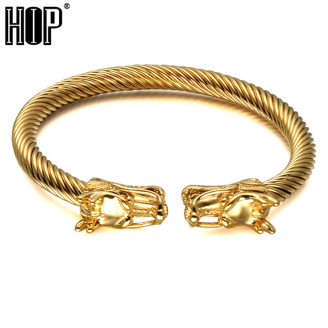 Hip Punk Double Dragon Heads Men Cuff Bracelet Bangle Gold Color Stainless Steel Adjule Wire