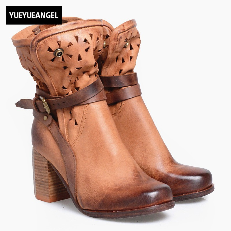все цены на England Style Thick Heels Ankle Boots Women Winter Genuine Leather High Heels Mixed Color Hollow Out Square Toe Martin Boots