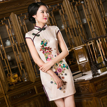 2016 Summer style cheongsam dress silk noble elegant digital print summer dress silk vintage cheongsam Size:S -3XL