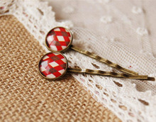 Scottish Tartan Red Cross Plaid Print Glass Cabochon Hairpins for Girls Mediterranean Style Bronze Hair Clips