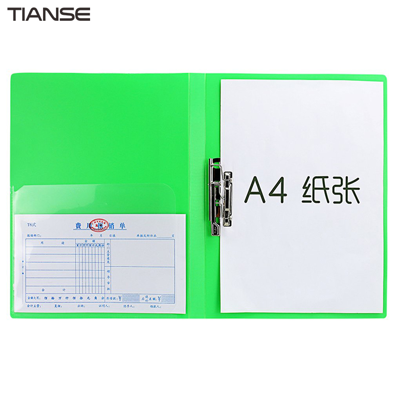 TIANSE PP + Stainless Steel A4 Folder Single Strong Clamp File Folder Plate Clamp Paper Clip Office Supplies Stationery deli a4 file folder for documents office stationery supplies pp folder data book folder 80 pages a4 clip business folder