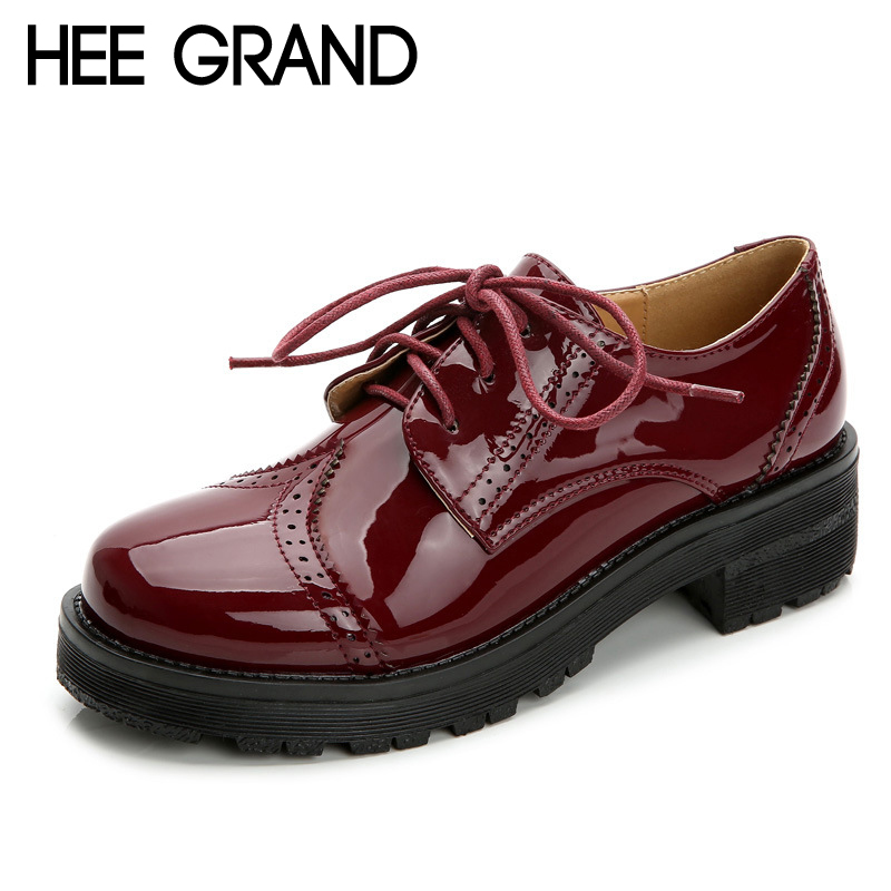 HEE GRAND Patent Leather Oxfords Shoes Woman Vintage Creepers 2017 Platform Women Brogue Shoes Casual Autumn High Heels XWX5364 hee grand casual women s sandals 2017 silver creepers platform summer shoes woman flats pink casual women shoes xwz3886