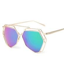 Cat Eye Sunglasses Women Mirror Glasses New Fashion Ladies Sunglasses Luxury Geometry Twin-Beams Alloys Frame Brand Design