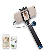 Wired monopé bluetooth selfie vara extensível pólo com espelho para o iphone 6 plus 5s 4s samsung huawei android