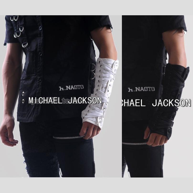 2 PCS Punk Rock Concert  MJ Michael Jackson Classic Collection Cotton White Back ArmBrace Elbow Glove