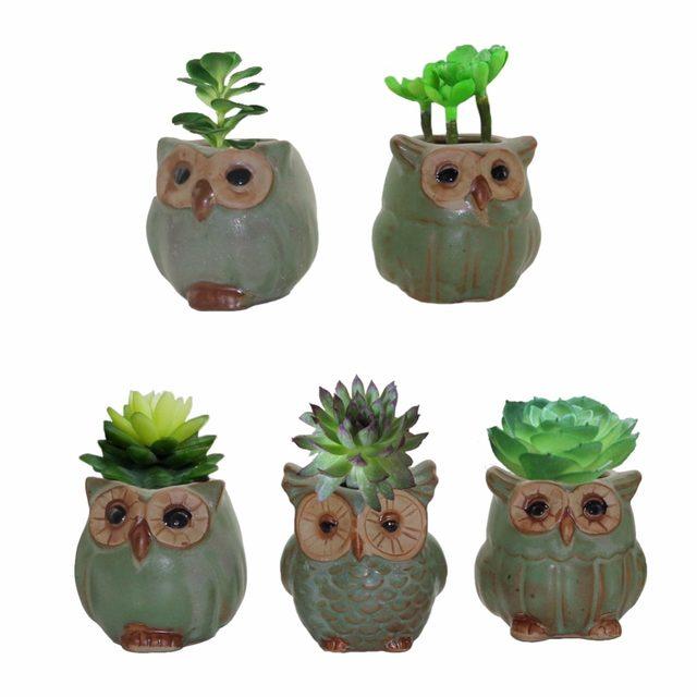 Creative Potted Owl Shape A Flower Pots For Bonsai Meat Plant Garden Pots  Planters Home Office Decorative Garden Pots 5pcs