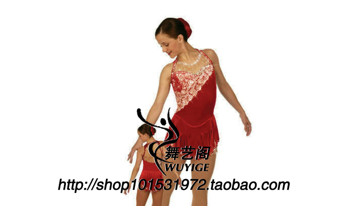 dress skating red women spandex ice skating dress competition ice dress free shipping F332dress skating red women spandex ice skating dress competition ice dress free shipping F332