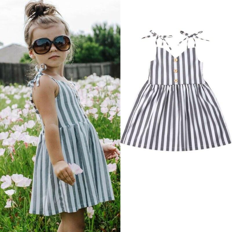 2019 Toddler Girl Clothes Baby Girls Kids Striped Sleeveless Summer Short Dress Kid Girl Dress For Causal Button Dresses