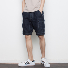 design of three-dimensional cutting line Multi Pocket tooling washed denim pants five male Japanese retro shorts
