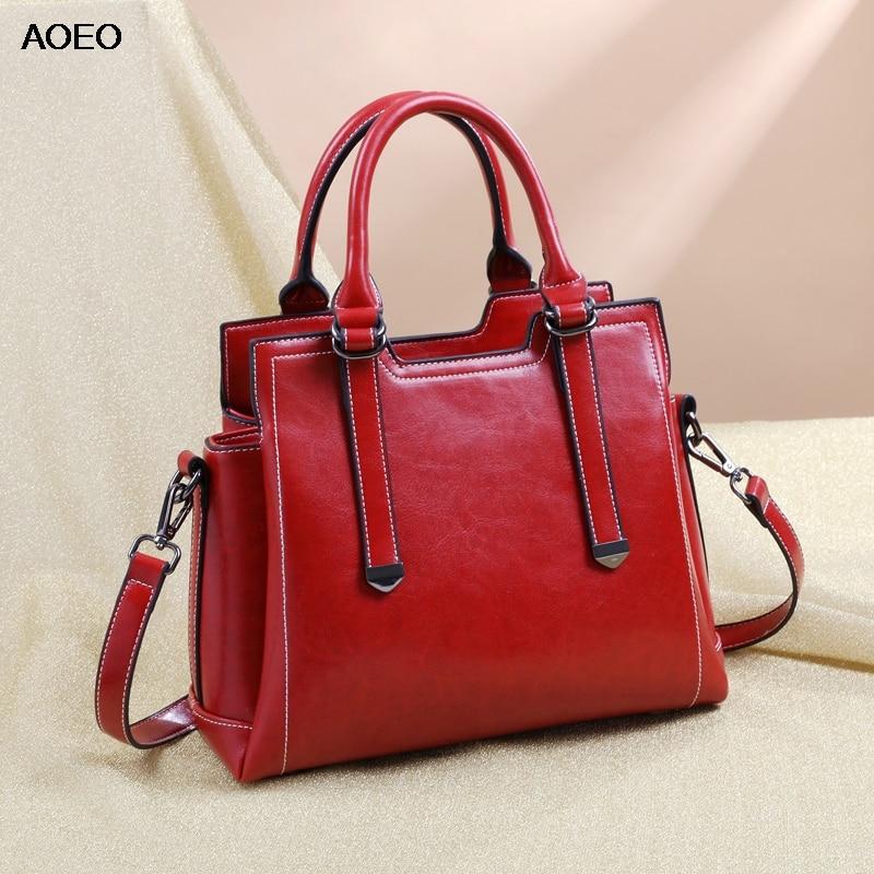 AOEO Luxury Handbags Women Bags Designer 2019 Split Leather Good Quality Ladies Shoulder Bag