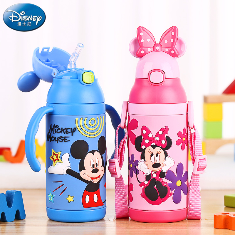 Disney 3D Thermos for Kids Water Bottles With Straw Vacuum Flask Insulated Bottles Straw Cup Kids