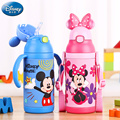 Disney Children Bottles With Straw Baby Water Vacuum Mug Water Cup with Handle Strap Straw Cup Kids bottle leak proof kettle