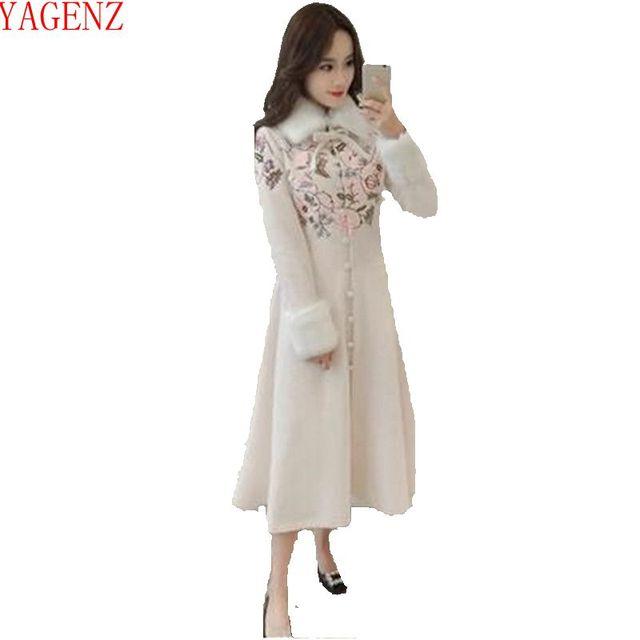 Jeune womanFashion Manteau D hiver vêtements Rétro Brodé Laine manteau de  haute qualité Tempérament col 9fdfa18574f