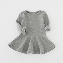 Sun Moon Kids Baby Dress 2017 Long Sleeve 1 Year Birthday Dress Casual Ruffles Newborn Baby Girl Clothes Princess Tutu Dresses