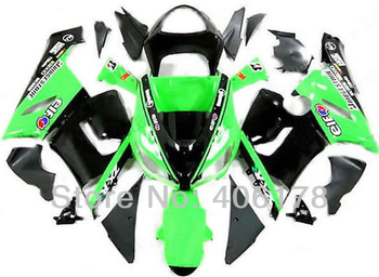 Cheap 05-06 ZX-6R Fairing For Ninja ZX6R 2005 2006 Green and black ELF Bike Fairings (Injection molding)