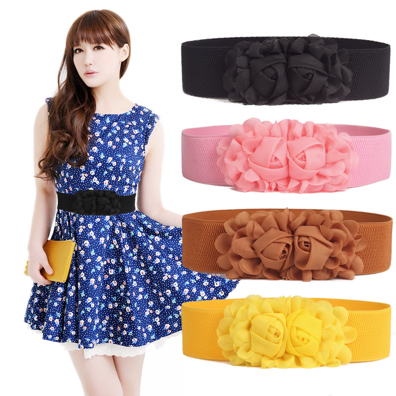 Korean Style Chiffon Super Wide Belt Double Rose Rosette Women Waist Cummerbunds Ladies Dress Skirt Decoration Accessories