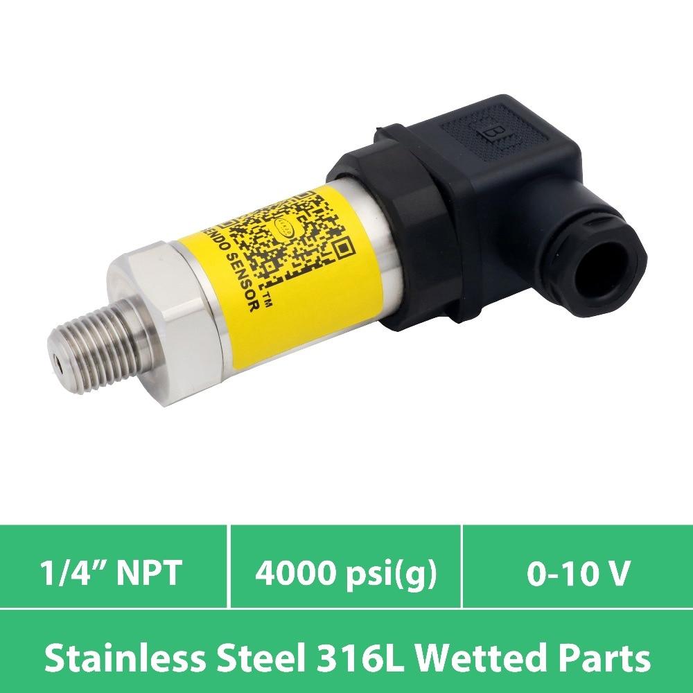 4000 psi pressure sensor, output 0 to 10V, 12V, 24V, 30V excitation,1 4 in NPT male thread, AISI 316L diaphragm & wetted parts4000 psi pressure sensor, output 0 to 10V, 12V, 24V, 30V excitation,1 4 in NPT male thread, AISI 316L diaphragm & wetted parts