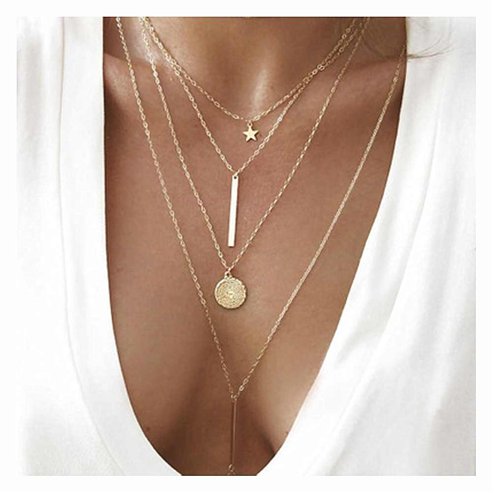 KISSWIFE New Vintage Boho Multi-layer Pendant Necklace for Women Gold Star Horns Metal Necklace Tribal Necklace Collar