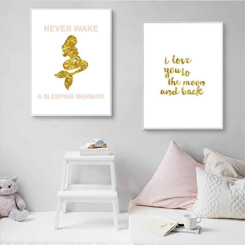 Русалочка настенное искусство Poser Детские стихи печать живопись на холсте, мультфильмы минималистский скандинавские дети картина девочка Спальня украшение