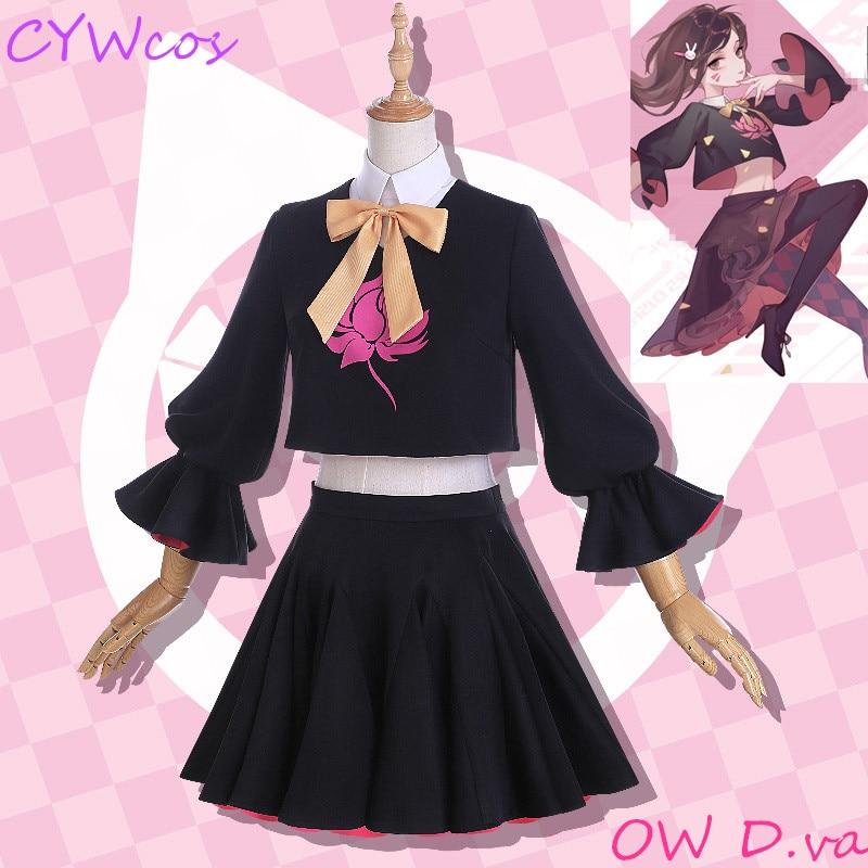 Game D.VA DVA Hana Song Lolita Girls Black Cat Officer Dress Cosplay Costume