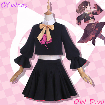 OW D.va Black Cat luna Cosplay Costume Song Hana Lolita Game Cosplay Dress Daily Suits DVA Costumes Top+Shirt+Stocking