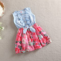 Menor Adorável Kid Jean Denim Arco Flor Ruffled Vestido de Festa Para Meninas Vestidos Jeans Vestido de Verão Vestuário Traje