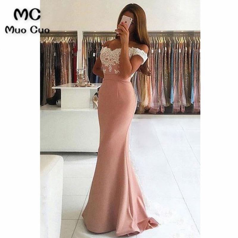 Elegant 2018 Dusty Pink Evening Dresses Long Satin Short