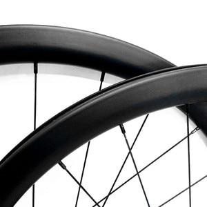 Image 2 - 700c strada ruote a disco 50x27 millimetri tubeless Freno A Disco della bici della strada ruote NOVATEC 100x12mm 142x 12mm Center lock strada ruota a disco in carbonio