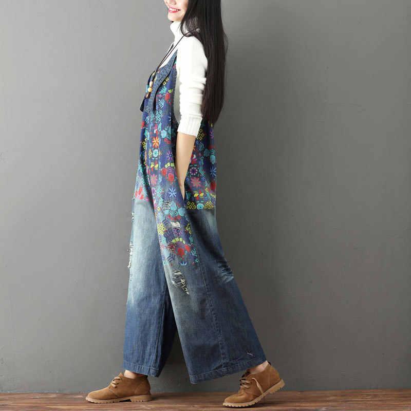 77f61d22e95 ... Denim Jumpsuit Oversize 2019 Autumn Winter High Waist Jeans Woman  Elegant Rompers Womens Jumpsuit Wide Leg ...