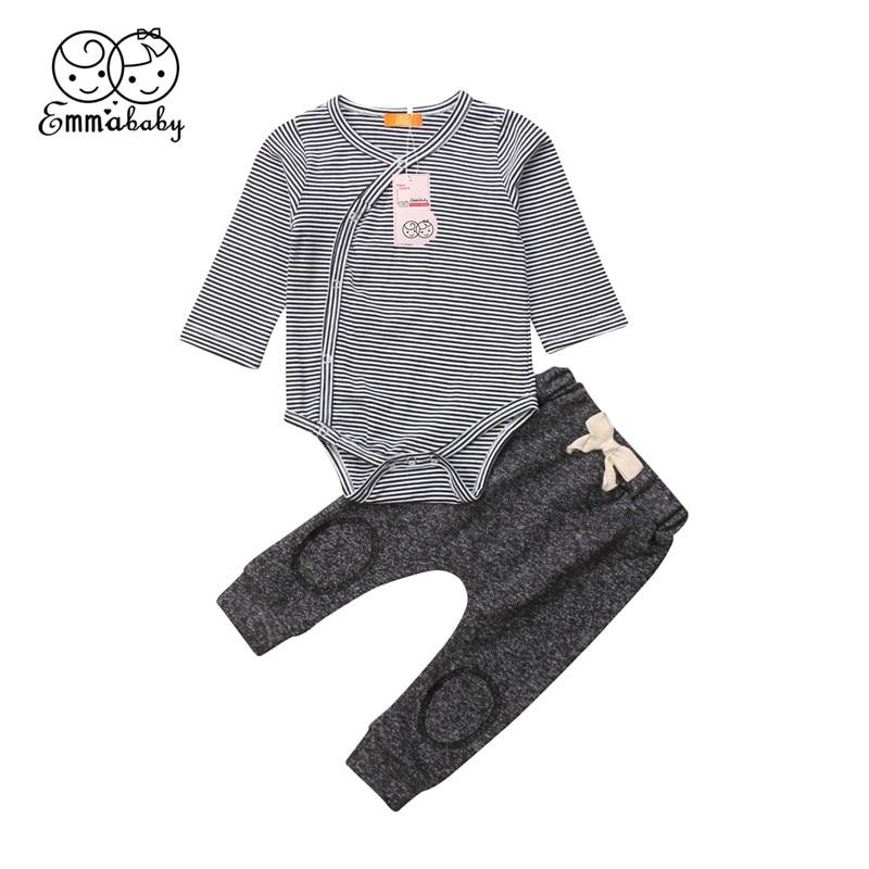 2pcs Newborn Baby Boys Long Warm Romper Jumpsuit Bodysuit Clothes Outfits Set