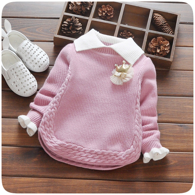 цена Kids cardigan turn down collar pullover kids sweaters solid colour children sweater knitted toddler girls cardigan