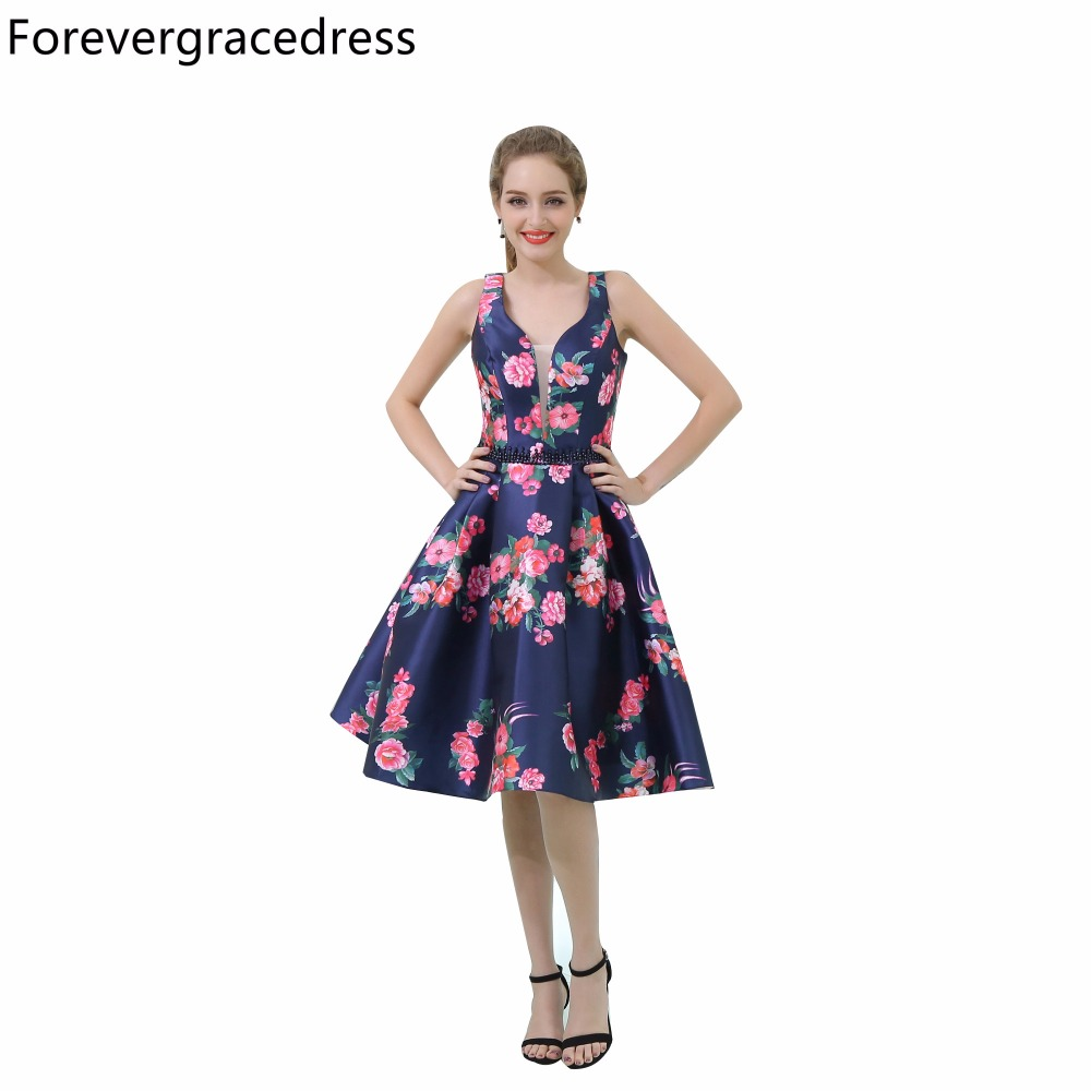 Forevergracedress Floral Print Cocktail Dress Sexy V Neck Sleeveless Short Backless Homecoming Party Gown Plus Size Custom