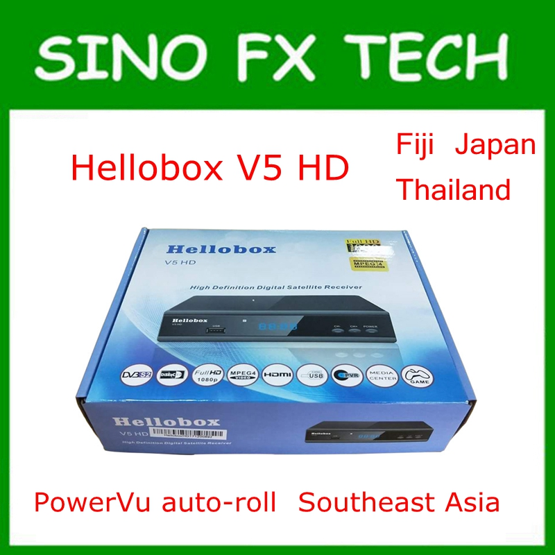 Hellobox V5 HD DVB-S2 Satellite Receiver PowerVu Channel auto-roll for Southeast Asia Fiji Thailand Japan upgrade from GSKY V5 hello box gsky v7 dvb s2 box with latin america auto roll and powervu function support all n america