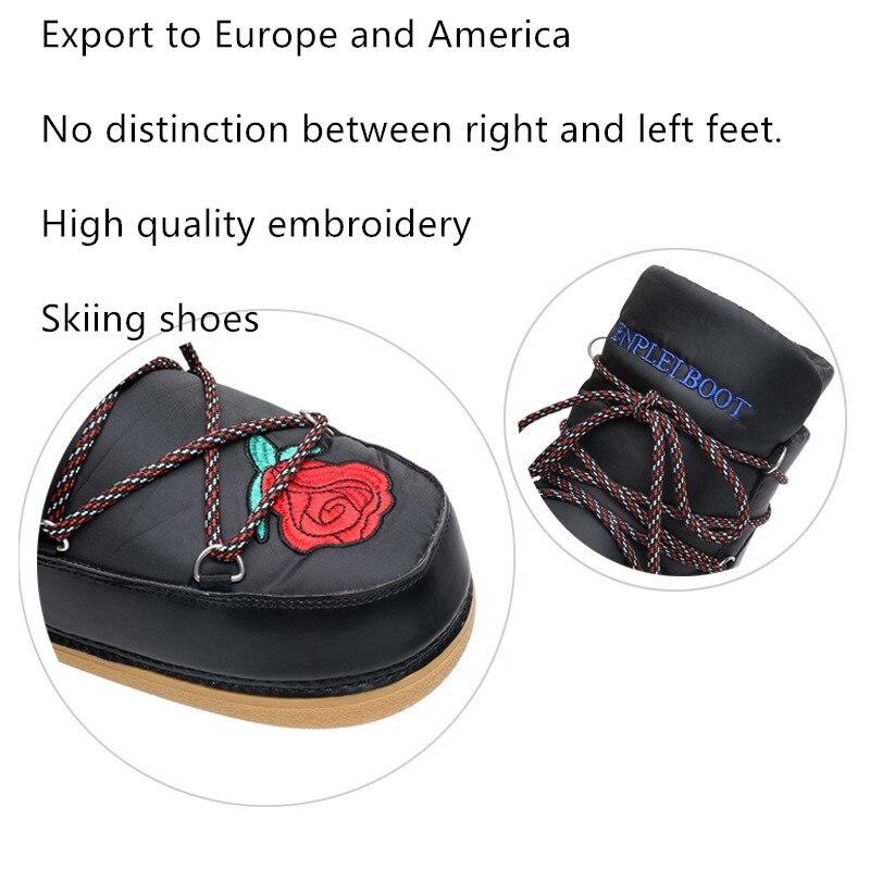 De Dentelle Cheville Fainéant Dames Bottes Neige Casual Up Chaussures 2 Broderie 2019 White Femmes Espace Rose 1 Ski Black qBOSwOxv