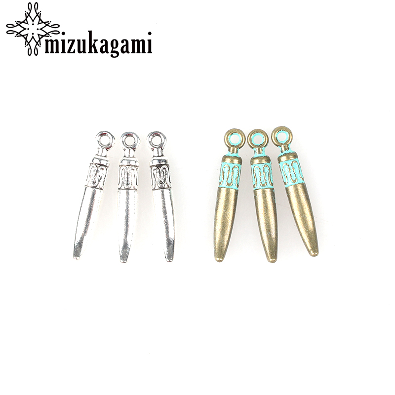40pcs 25*4MM Retro Verdigris Patina Plated Zinc Alloy Green Tip Needle Spike Charms Bullet Pendants For DIY Jewelry Accessories