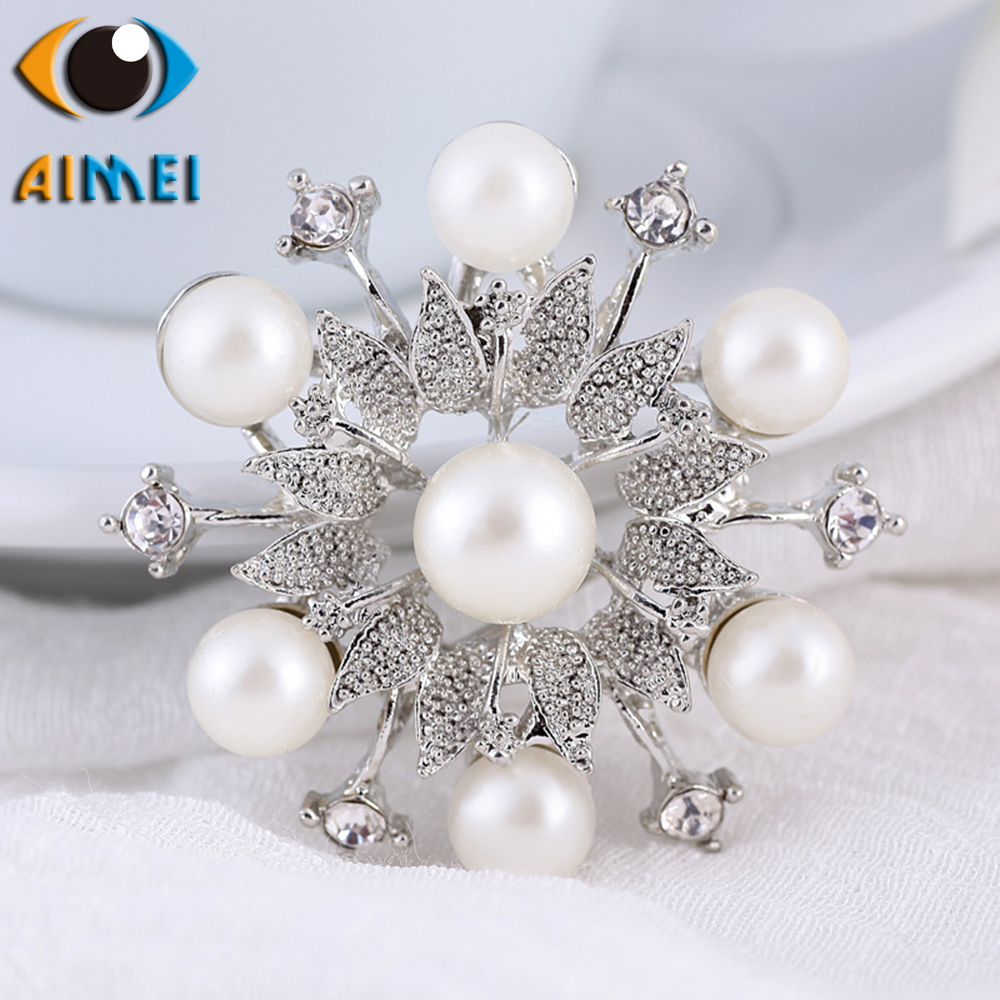 Korean popular wreath imitation pearl diamonds brooch exquisite female jewelry corsage fashion accessories pins