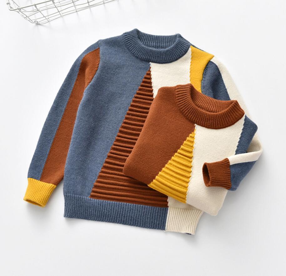 Bébé enfants t-shirt pull bébé fille géométrique Triangle Rectangle Match motif petit garçon tenue o-cou tricoté vêtements pour 2 T-7 T