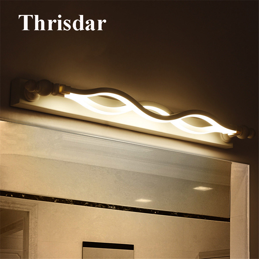 Thrisdar Nordic Bathroom Mirror Wall Light 52CM 14W Modern Cabinet Vanity Mirror Front Light Makeup Dressing Table Mirror Light wooden dressing table makeup desk with stool oval rotation mirror 5 drawers white bedroom furniture dropshipping