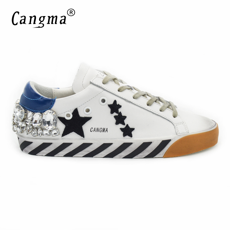 CANGMA Original Italy Deluxe Brand Men Shoes Superstar Genuine Leather White Mens Shoes Dismond Crystal Zapatos