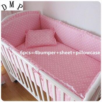 6PCS Baby krippe bettwäsche sets baumwolle juego de cama baby bettwäsche Cartoon krippe bettwäsche set (stoßstangen + blatt + kissen abdeckung)-in Bettwäsche-Sets aus Mutter und Kind bei