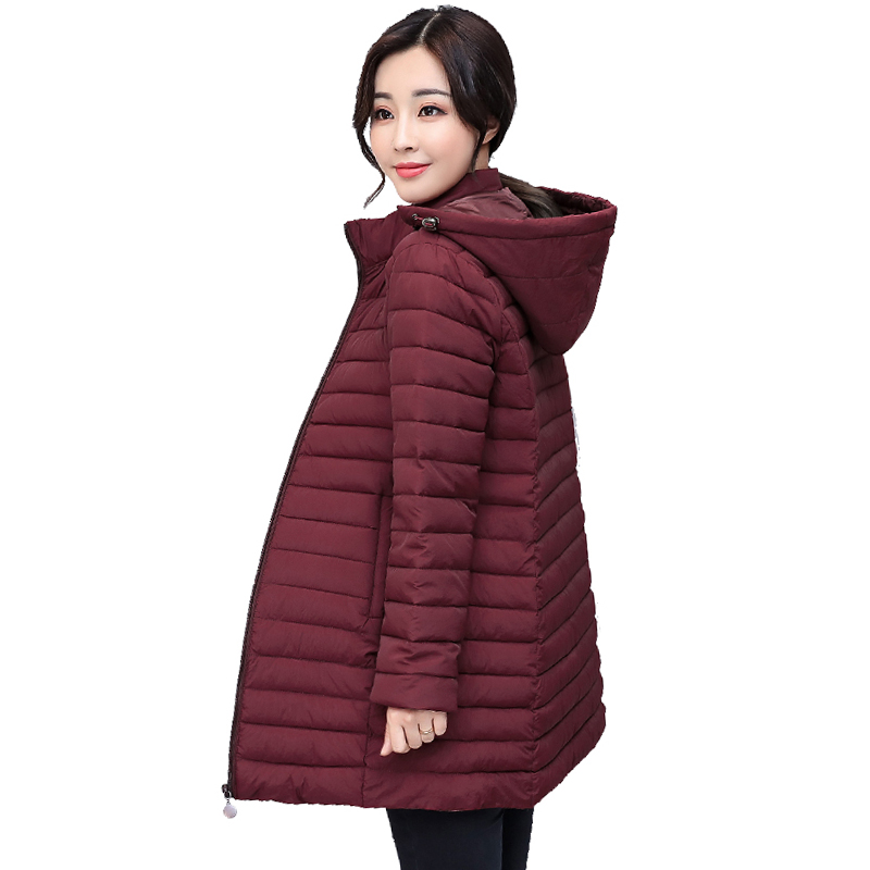 Women Winter Jacket Hooded Cotton Padded Autumn Outwear Coat Long Solid Wine Red Army Green Ladies   Parka