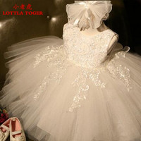 2016 New White and Baby Girl Christening gowns Infant girl Baptism Dress1 Year Birthday Party Baby Girl Dress