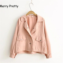 MERRY PRETTY Autumn New Women Jacket Loose Pocket Casual Cropped Tops Solid Jacket Coat fashion Female Thin Top Outerwears girl