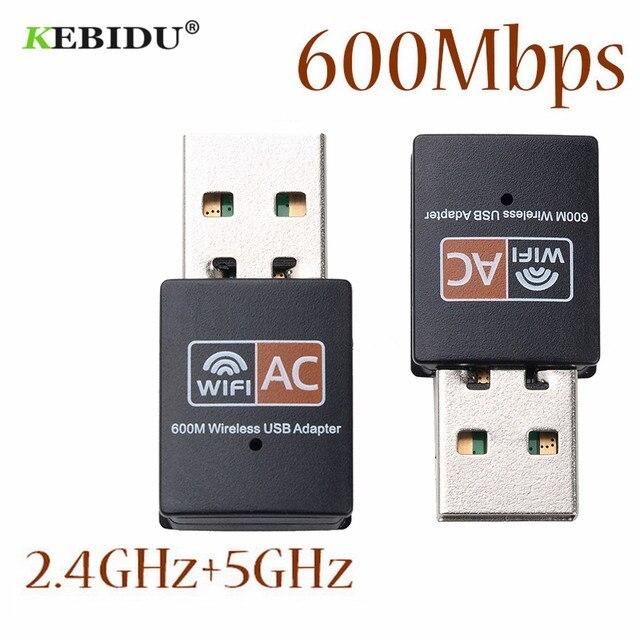 Kebidu antena WiFi de doble banda 600Mbps, 2,4 GHz, 5GHz, 802.11b/n/g/ac, Mini receptor de tarjeta de red de ordenador inalámbrico