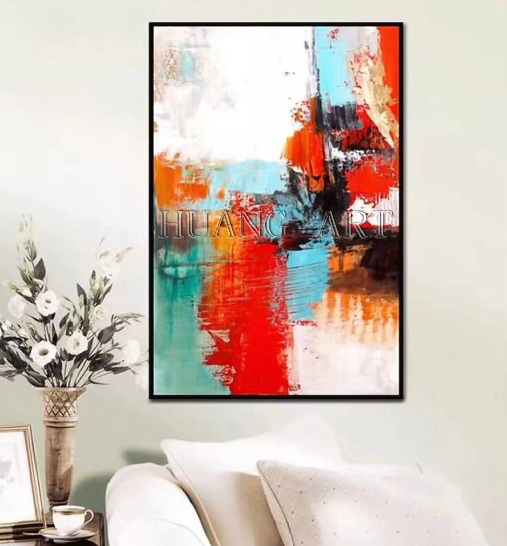 Hand painted High Quality Modern Bright Color Abstract Oil Painting on Canvas Brushed Textured Abstract Wall Decor Painting in Painting Calligraphy from Home Garden