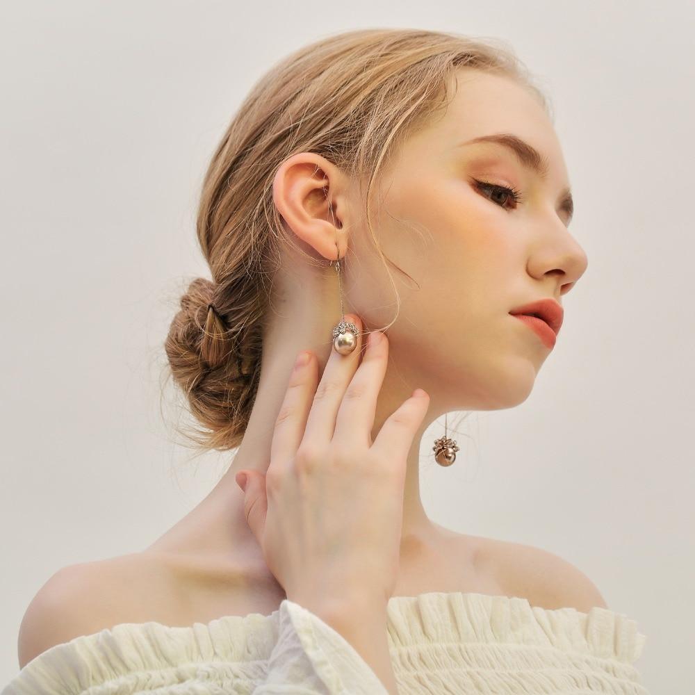 Hongye Natural Freshwater Pearl Drop Earrings For Women Pendant Silver Zircon Dangle Ear Round Earrings Gold Real Pearl Earring pair of chic round pendant faux pearl earrings for women