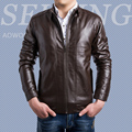 2017 New Arrival Men's Motorcycle Leather Jacket Stand Collar Male Casual Coats Cool Design Slim Solid Clothing Hot Sale