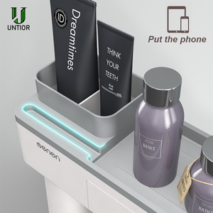 Image 5 - UNITOR Plastic Wall Mounted Toothbrush Holder Automatic Toothpaste Dispenser Toiletries Storage Rack Bathroom Accessories Set